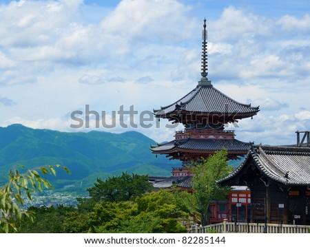 Kiyomizu-Dera is a landmark Buddhist temple in Kyoto, Japan. - stock photo