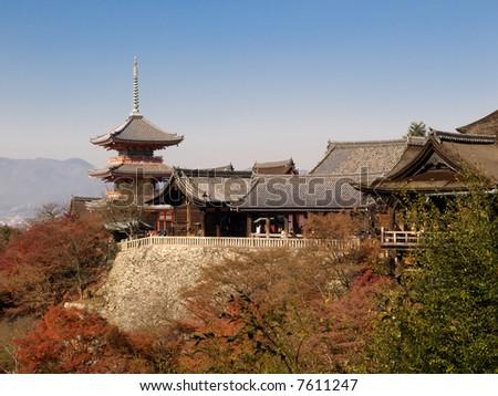 Kiyomizu Temple in Kyoto Japan. Kiyomizu-dera is UNESCO World Heritage listed. - stock photo