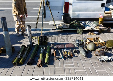 Kiyv, Ukraine - October 10 2015: The exhibition of arms as an evidence of Russian Army's aggression upon Ukraine at Donbass, autumn time.