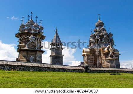 Kizhi Island, Russia. Ancient wooden religious architecture. Summer landscape