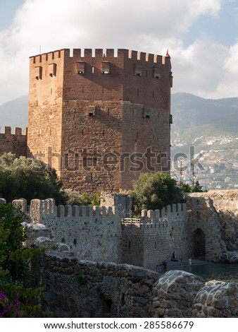 Kizil Kule or Red Tower in Alanya, Antalya, Turkey  - stock photo