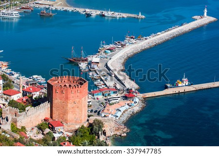 Kizil Kule (Red Tower) in Alanya, Turkey - stock photo