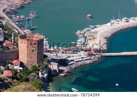 Kizil Kule (Red Tower), inTurkish city of Alanya - stock photo