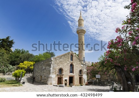 Kizilhisarli Mustafa Pasa Mosque in Bodrum Castle, Turkey - stock photo