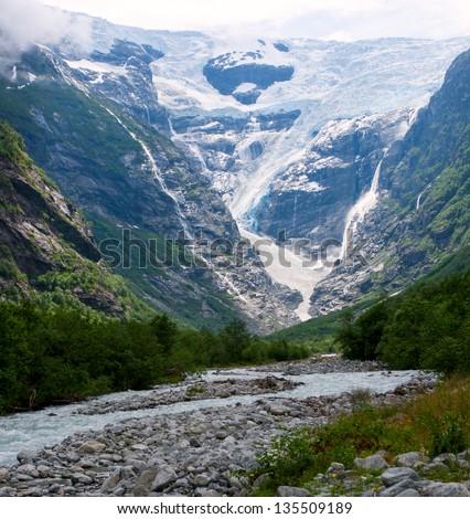 Kjenndalen glacier in Norway - Kjenndalsbreen - stock photo