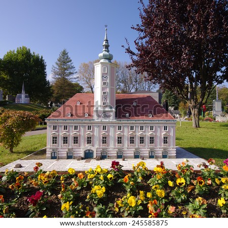 KLAGENFURT, AUSTRIA â?? OCTOBER 16, 2011: Miniature building of city hall of St Polten town, Austria. photo taken at Minimundus park in Klagenfurt, Austria on October 16, 2011.  - stock photo