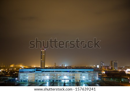 Klaipeda City at Night.  Klaipeda is the third largest city in Lithuania. In 2011 the population was 162,690. - stock photo