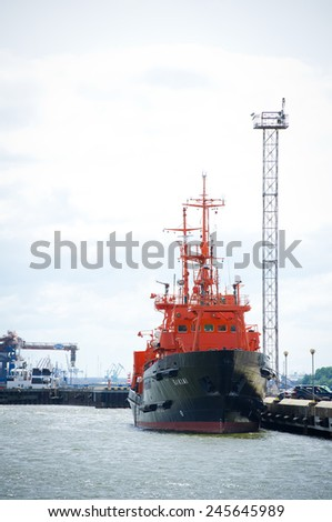 KLAIPEDA - JUNE 1: Lithuanian Naval Force Search and Rescue (SAR) ship 'SAKIAI' in Klaipeda Harbour on June 1, 2014 Klaipeda, Lithuania. Vessel 'Sakiai' has modern SAR and pollution control equipment.