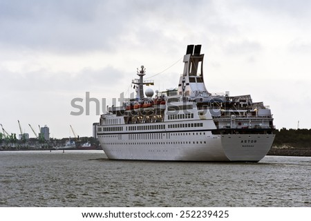 KLAIPEDA,LITHUANIA-AUG 21:cruise liner ASTOR in port on August 21,2012 in Klaipeda,Lithuania. - stock photo