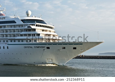 KLAIPEDA,LITHUANIA- AUG 05:cruise liner CRYSTAL SYMPHONY in port on August 05,2012 in Klaipeda, Lithuania.