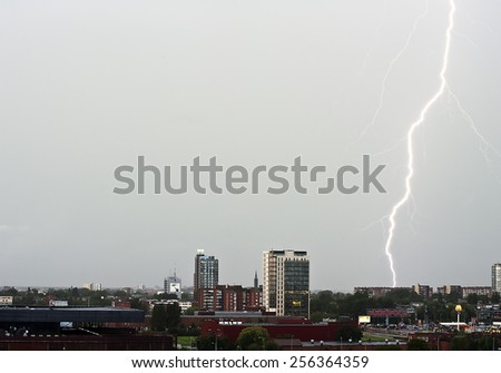 KLAIPEDA,LITHUANIA- AUG 05:view of the city during a lightning storm on August 05,2012 in Klaipeda, Lithuania.