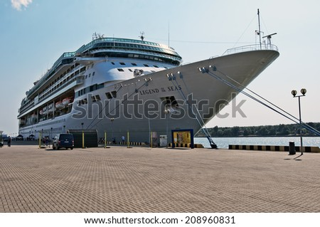 KLAIPEDA,LITHUANIA- AUGUST 04:Cruise liner LEGEND OF THE SEAS in Klaipeda harbor on August 04, 2014 in Klaipeda, Lithuania.