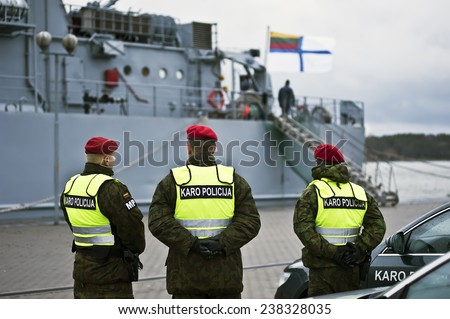 KLAIPEDA,LITHUANIA-DEC 17:military police patrol on December 17,2014 in Klaipeda,Lithuania.
