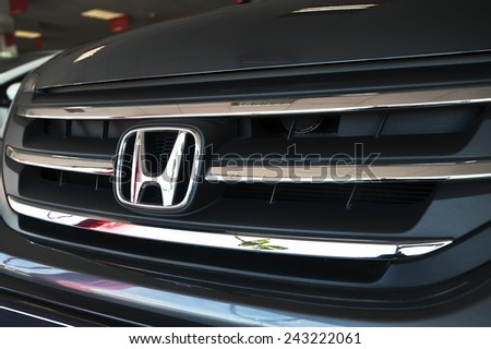 KLAIPEDA,LITHUANIA-JAN 06:HONDA logo on January 06,2015 in Klaipeda,Lithuania. Honda is a Japanese multinational automotive manufacturing company.