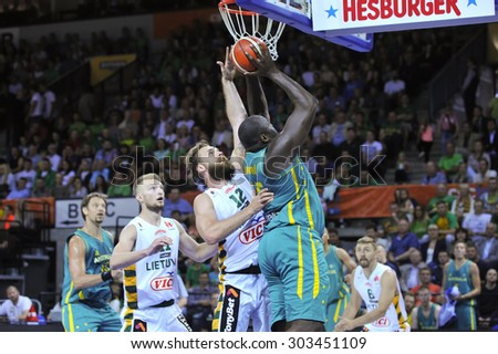 KLAIPEDA,LITHUANIA-JULY 29:basketball game sport player in action of the International men's basketball match Lithuania - Australia on July 29, 2015 in Klaipeda,Lithuania.