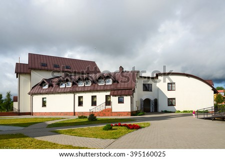 KLAIPEDA, LITHUANIA - JULY 11, 2015: Hotel (Church House) at Pokrovo Nicholas Church, Klaipeda, Lithuania