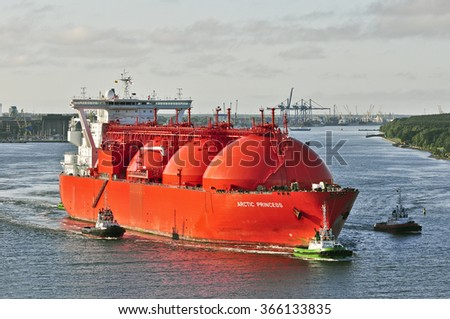 KLAIPEDA,LITHUANIA- JULY 21: LNG Tanker ARCTIC PRINCESS (registered in Norway) in port on July 21,2015 in Klaipeda,Lithuania.