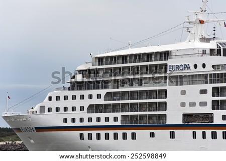 KLAIPEDA,LITHUANIA-JULY 01:Luxure cruise liner EUROPA in port on July 01,2012 in Klaipeda, Lithuania. - stock photo