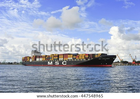 KLAIPEDA,LITHUANIA-JULY 04:MSC containership MONTEREY in port Klaipeda on July 04,2016 in Klaipeda,Lithuania.MSC Monterey (94,860 TEU's.) currently operated by Mediterranean Shipping Company S.A.