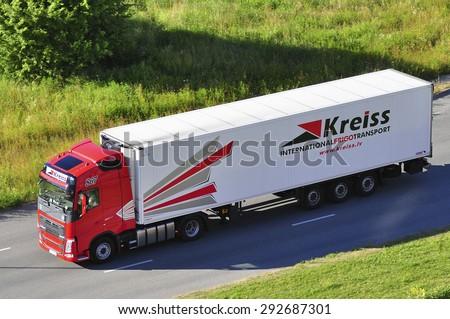 KLAIPEDA,LITHUANIA-JULY 01:VOLVO truck of KREISS on the street on july 01,2015 in Klaipeda,Lithuania. - stock photo