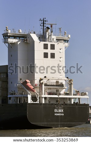 KLAIPEDA,LITHUANIA- JUNE 08:Container Ship EILBEK in port Klaipeda on June 08,2015 in Klaipeda,Lithuania.