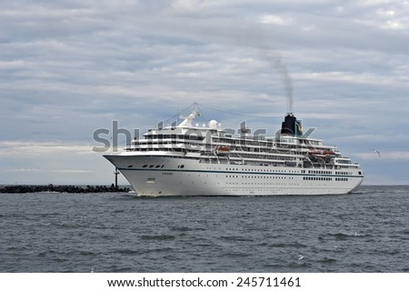 KLAIPEDA,LITHUANIA-JUNE 26 cruise liner AMADEA in port on June 26,2012 in Klaipeda,Lithuania.MS Amadea is a cruise ship owned by Amadea Shipping Company.  - stock photo