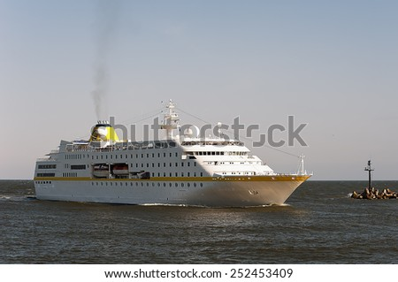 KLAIPEDA,LITHUANIA- JUNE 23:Cruise liner HAMBURG in port Klaipeda on June 23,2012 in Klaipeda, Lithuania.