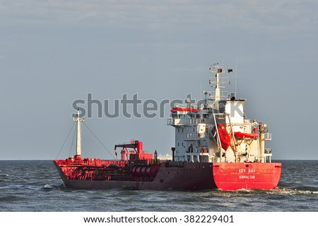 KLAIPEDA,LITHUANIA-JUNE 30:ship FEHN CALEDONIA in the Baltic sea on June 30,2015 in Klaipeda,Lithuania.Ship KEY BAY is Oil/Chemical Tanker, registered in Gibraltar