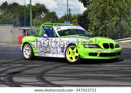 KLAIPEDA,LITHUANIA-JUNE 21:Unknown rider overcomes the track in the Lithuanian drift championship and Baltic drift Championship on June 21,2015 in Klaipeda,Lithuania.