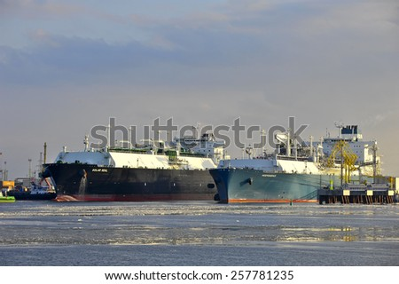 KLAIPEDA,LITHUANIA- MARCH 02:The liquefied-natural-g as (LNG) ship Independence and LNG Tanker GOLAR SEAL in Klaipeda port on March 02,2015 in Klaipeda,Lithuania.
