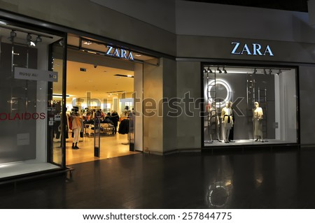 KLAIPEDA, LITHUANIA - MARCH 04: ZARA Store on March 04, 2015 in Klaipeda, Lithuania. Zara is an Spanish clothing and accessories retailer.
