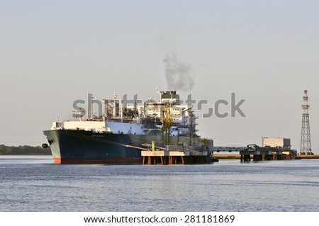 KLAIPEDA,LITHUANIA- MAY 25:The liquefied-natural-g as (LNG) ship Independence in Klaipeda port on May 25 ,2015 in Klaipeda,Lithuania.