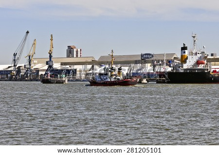 KLAIPEDA,LITHUANIA-MAY 25:view of the harbor on May 25,2015 in Klaipeda,Lithuania.Klaipeda - city in Lithuania situated at the mouth of the Dan. River where it flows into the Baltic Sea.