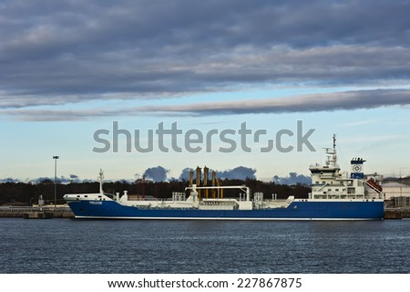 KLAIPEDA,LITHUANIA- OCT 31 :view of the harbor with ship  on October 31,2014 in Klaipeda, Lithuania.