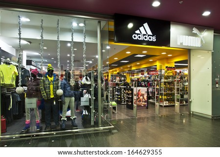 KLAIPEDA - NOVEMBER 24: ADIDAS store and logo on November 24, 2013, Lithuania.