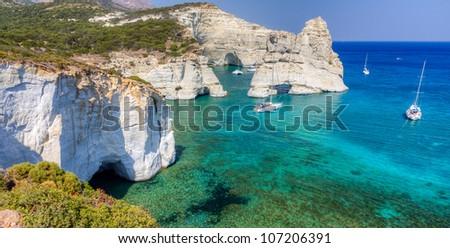 Kleftiko, Milos island, Cyclades, Greece - stock photo