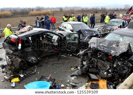 KLEIDI,GREECE - JAN,22: 28 vehicle pile-up on the Egnatia motorway in Kleidi after the crash that occurred early today due to fog on 22 January, 2013. One woman died and 26 others were injured - stock photo