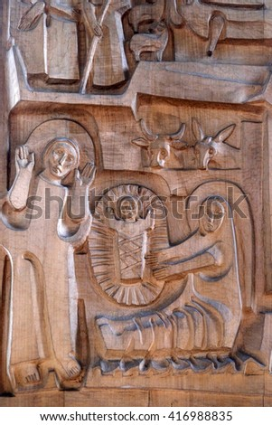 KLEINOSTHEIM, GERMANY - JUNE 08: Nativity Scene, Birth of Jesus, Saint Lawrence church in Kleinostheim, Germany on June 08, 2015.