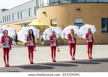 KLETTWITZ, GERMANY - MAY 01, 2015 Lausitzring IDM Sidecar Grid Girl - stock photo