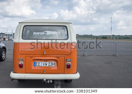 KLETTWITZ, GERMANY - September 26 2015: VW Bully T2, the cult car of the Hippie generation and it remained the status vehicle of the high wave surfers. Rear View - stock photo