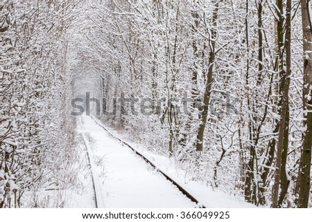 Klevan's tunnel of love after heavy snowfall in winter. - stock photo