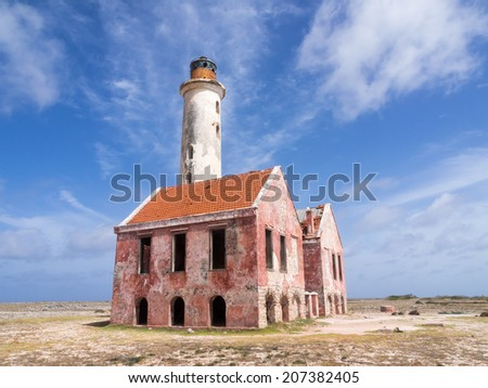 Klien Curacao a small island off Curacao a Caribbean Island with ship wrecks and lighthouse wreck - stock photo