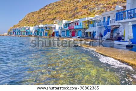 Klima fishing village, Milos island, Cyclades, Greece - stock photo