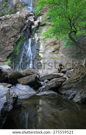 Klong Larn Waterfall, Paradise waterfall in Tropical rainforest of Thailand , water fall in deep forest at Kampangpetch province Thailand .  - stock photo