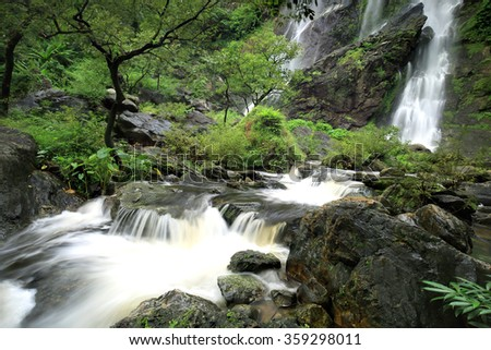 Klong Larn Waterfall, Paradise waterfall in Tropical rainforest of Thailand , water fall in deep forest at Kampangpetch province Thailand .