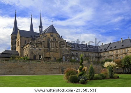Kloster Michelsberg (Michaelsberg) cathedral and garden in Bamburg, Germany with blue sky  - stock photo