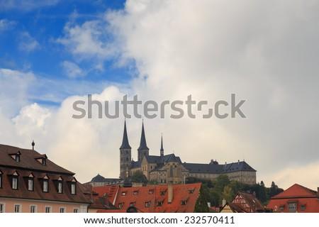 Kloster Michelsberg (Michaelsberg) in Bamburg, Germany with blue sky - stock photo