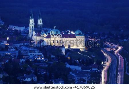 Klosterneuburg Monastery - aerial view at night. Vienna, Austria. - stock photo