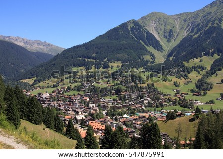 Klosters - beautiful Swiss town located in Plessur Range of Alps. Canton of Grisons (Graubunden).