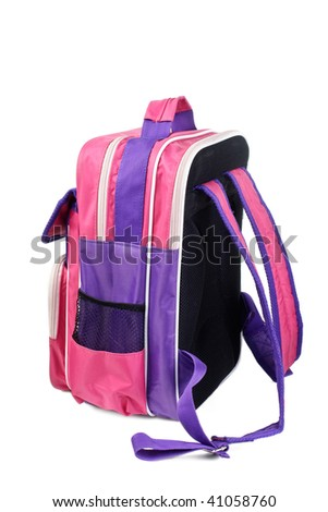 knapsack the schoolboy it is isolated on a white background